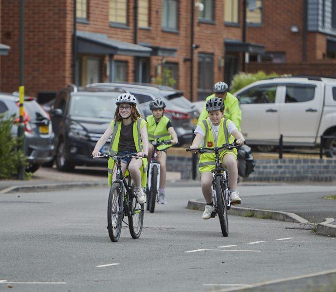 Children's bike ride hi vis Bikeability Trust