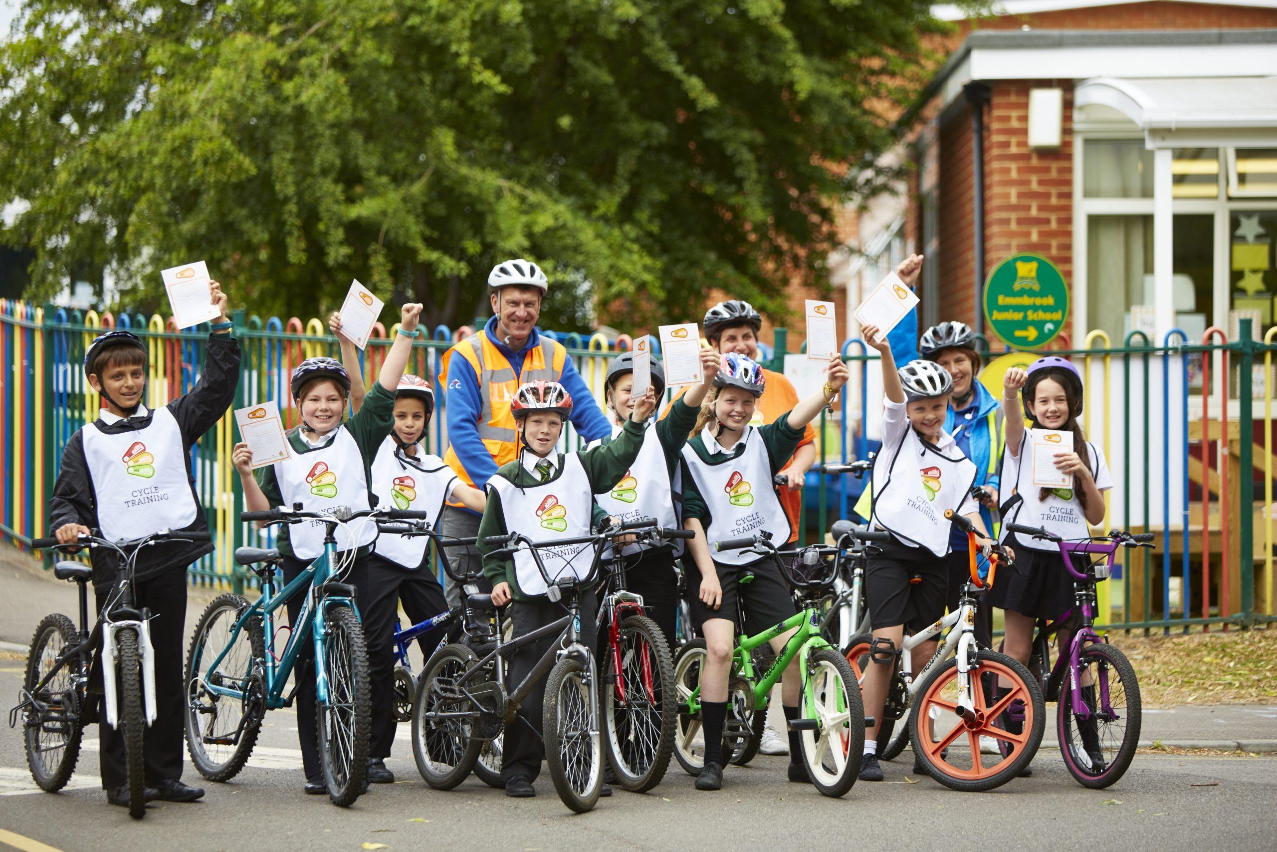 Group of school children on bikes