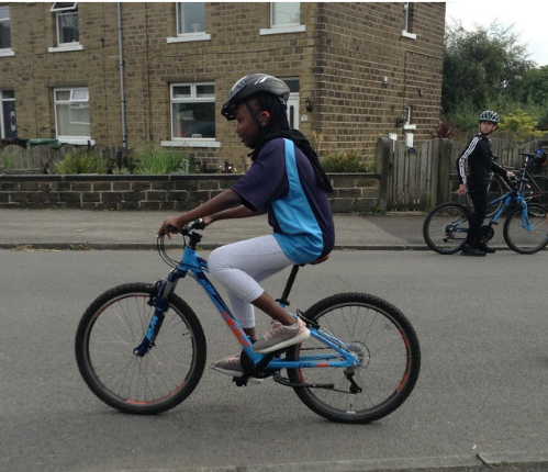 A child on a bike during Bikeability